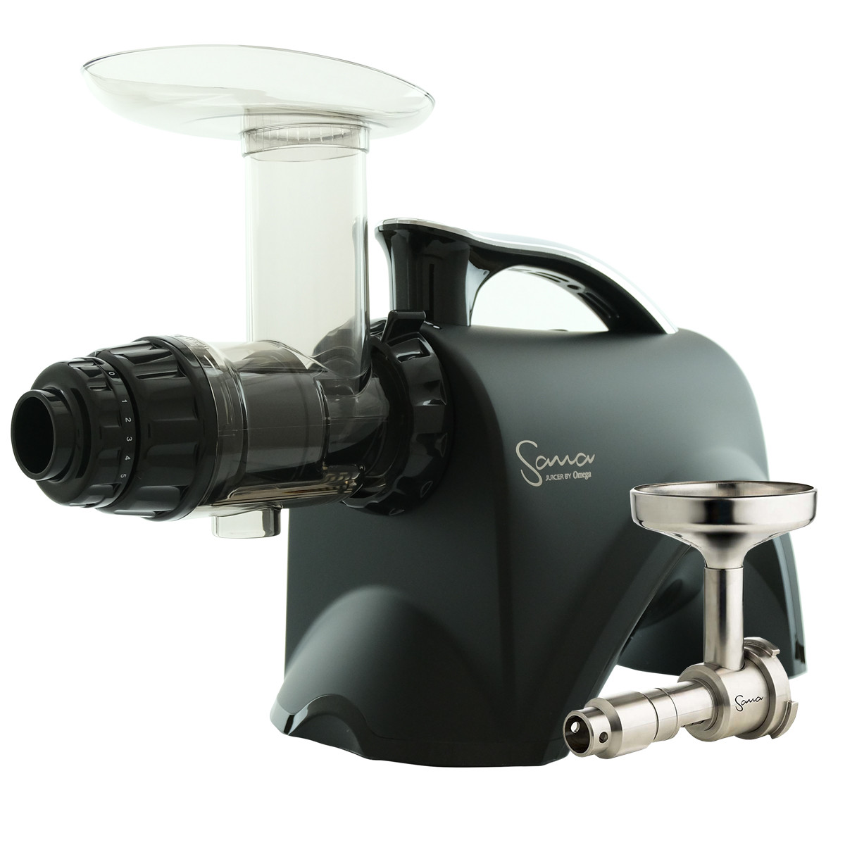 Omega Sana Juicer Black EUJ 606MB with Oil Extractor