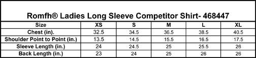 Romfh Ladies Competitor Long Sleeve Shirt Size Chart