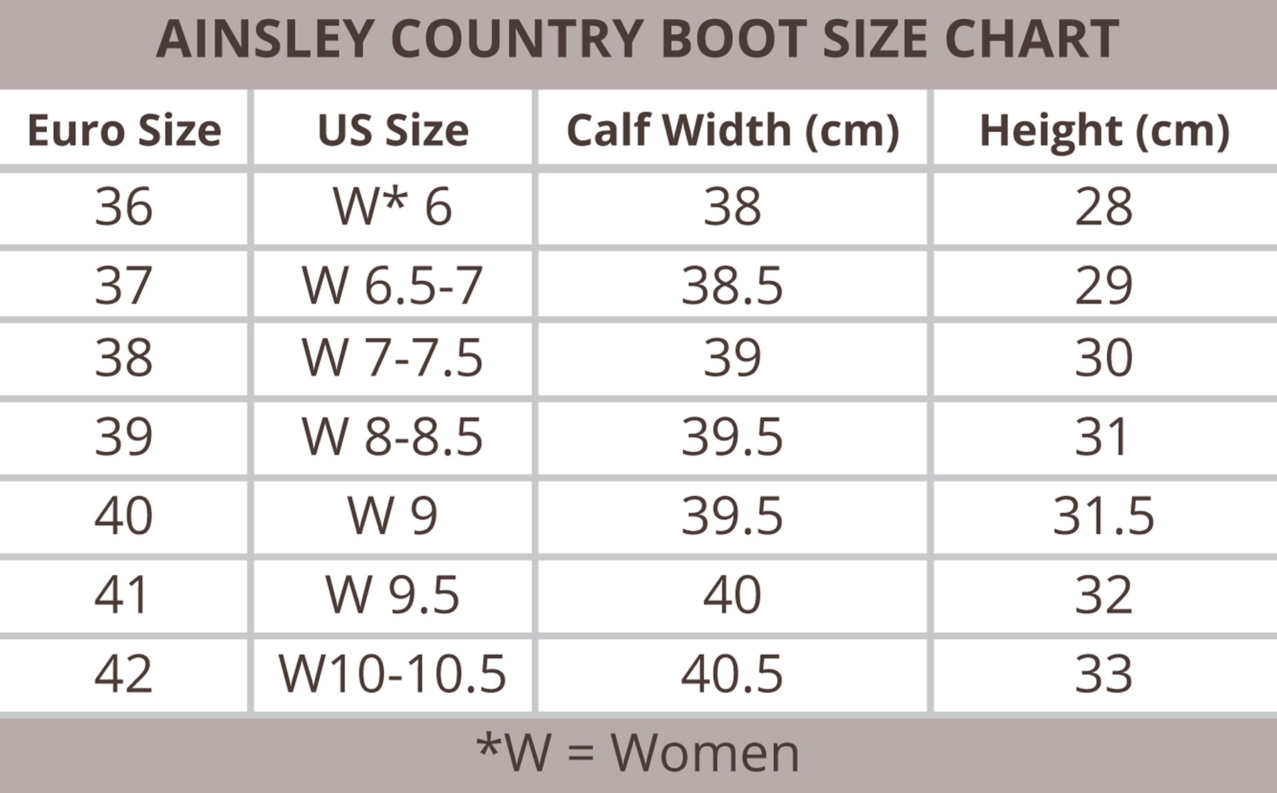 Ovation Ainsley Country Boot Size Chart