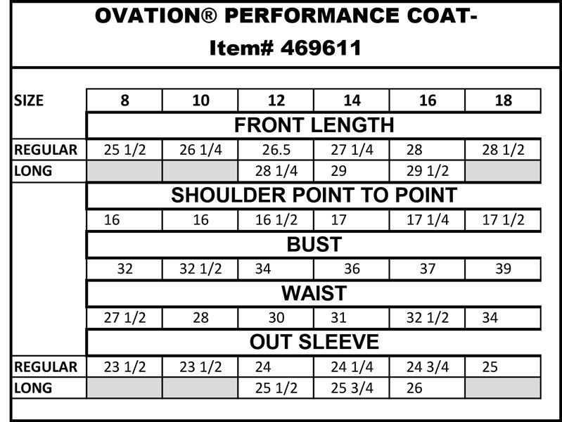 Ovation Destiny 4-Button Show Coat Size Chart