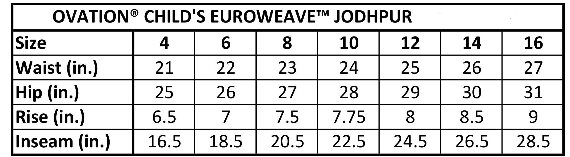 Ovation-Euro-Seat-Side-Zip-Jodhpurs Size Chart