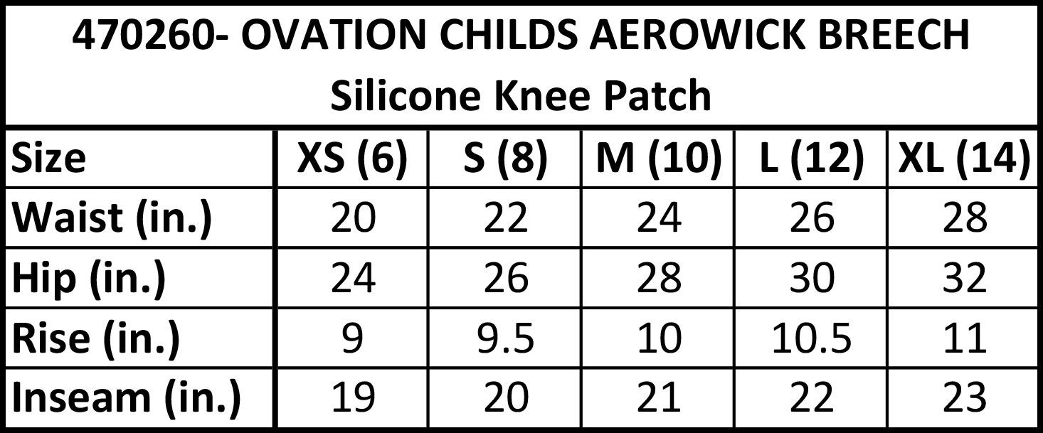 Ovation Child's Aerowick Breech Size Chart