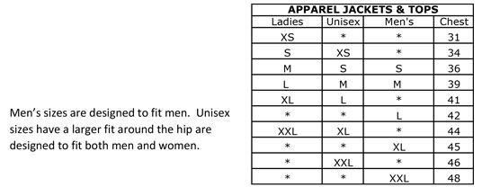 Mountain Horse Jacket Size Chart
