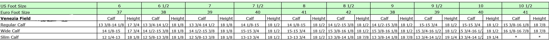 Mountain Horse Venezia Field Boot Size Chart