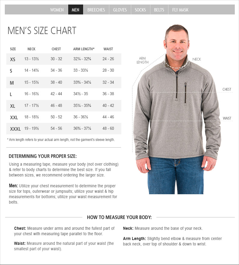 Noble Outfitters Mens Size Chart