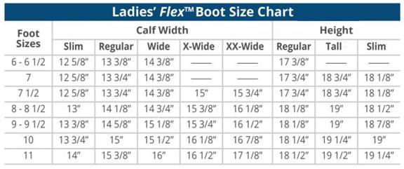 Ovation Ladies Flex Field Boot Size Chart