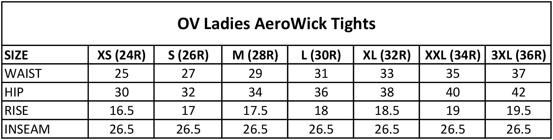 Ovation Ladies Aerowick Tights Size Chart