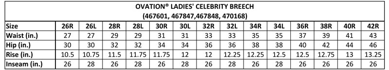 Ovation Ladies Celebrity Breeches Size Chart