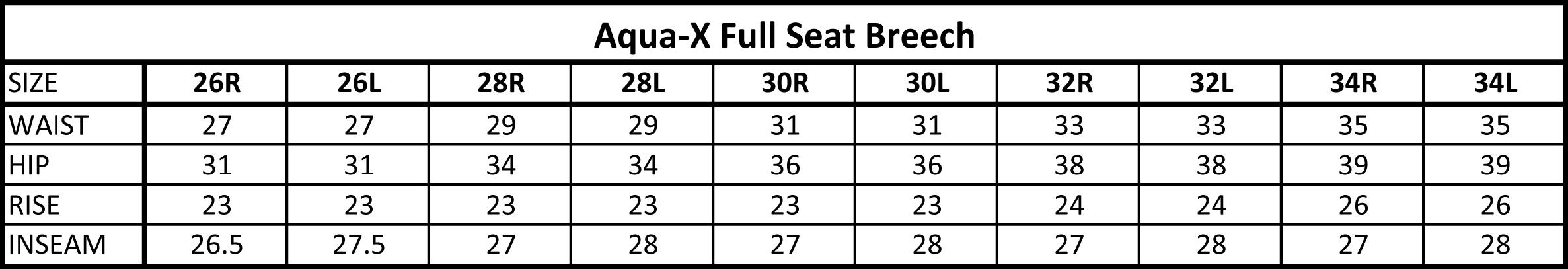 Ovation Aqua-X Full Seat Breeches Size Chart