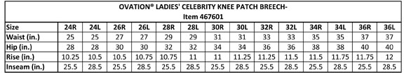 Ovation Celebrity EuroWeave DX Breeches Size Chart