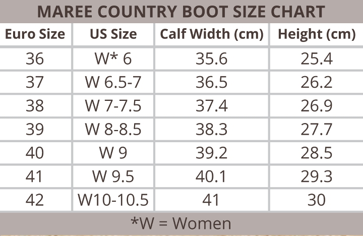 Ovation Maree Country Boot Size Chart