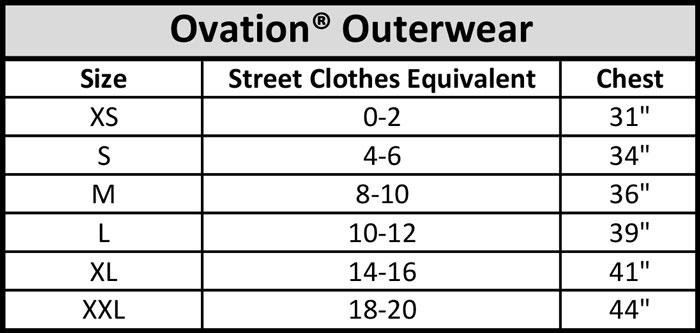 Ovation Outerwear Size Chart