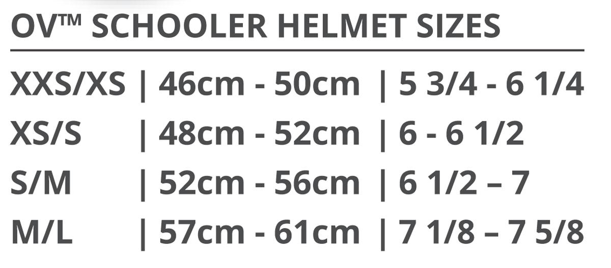 Ovation Schooler Helmet Size Chart