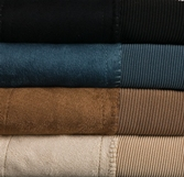 Black, denim, taupe, light tan color swatch