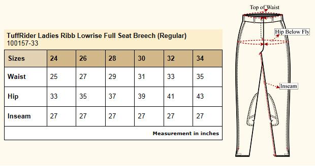TuffRider Ribb Low Rise Full Seat Size Chart