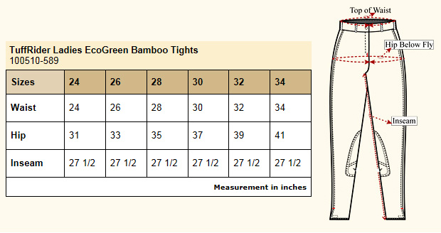 TuffRider EcoGreen Bamboo Riding Tights Size Chart