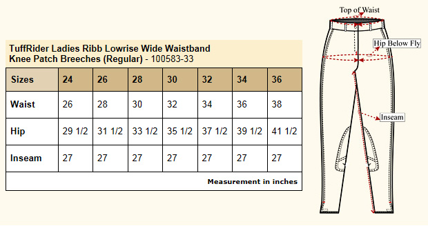 TuffRider Ribb Low Rise Wide Waistband Breeches Size Chart