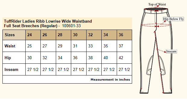 TuffRider Ribb Low Rise Wide Waistband Full Seat Breeches Size Chart