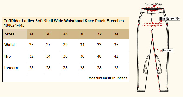 TuffRider Softshell Knee Patch Breeches Size Chart