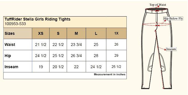 TuffRider Stella Girls Riding Tights Size Chart