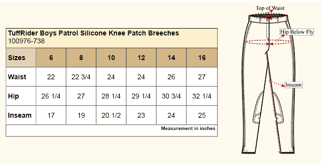 TuffRider Boys Silicone Knee Patch Breeches Size Chart