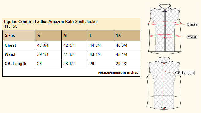 Equine Couture Amazon Rain Shell Jacket Size Chart