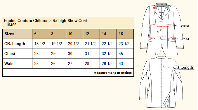 Equine Couture Children's Raleigh Show Coat size chart