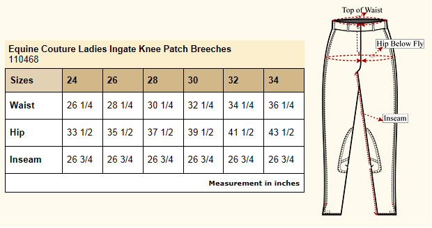 Equine Couture Ladies Ingate Riding Breeches Size Chart
