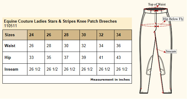 Equine Couture Stars & Stripes KP Breeches size chart