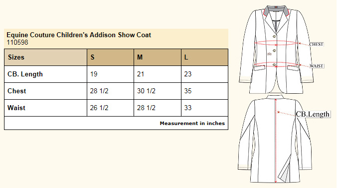 Equine Couture Children's Addison Show Coat size chart
