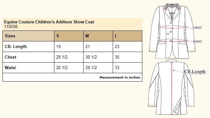 Equine Couture Children's Addison Show Coat size chart