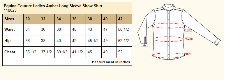 Equine Couture Amber Long Sleeve Show Shirt Size Chart