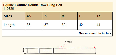 Equine Couture Double Row Bling Belt Size Chart
