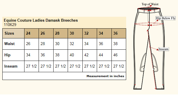 Equine Couture Damask Breeches size chart