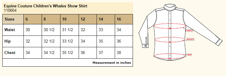 Equine Couture Children's Whales Show Shirt Size Chart