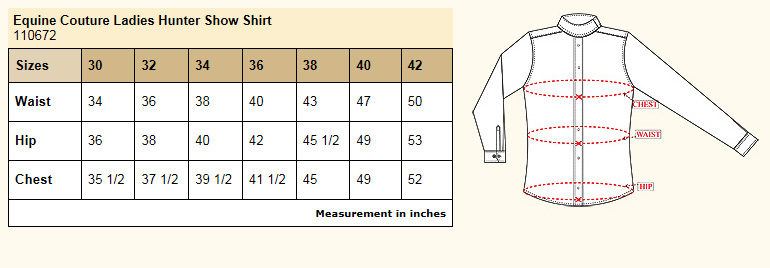 Equine Couture Ladies Hunter Show Shirt Size Chart