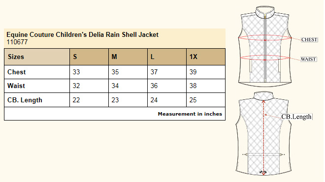 Equine Couture Children's Delia Rain Shell Jacket size chart