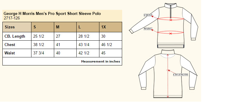 George H Morris Men's Pro Sport Short Sleeve Polo Size Chart