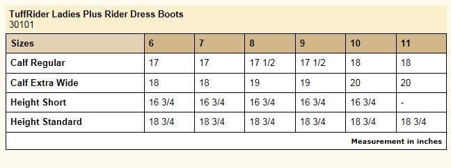TuffRider Plus Rider Dress Boot Size Chart