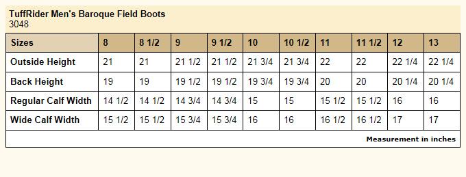 TuffRider Men's Baroque Field Boots Size Chart