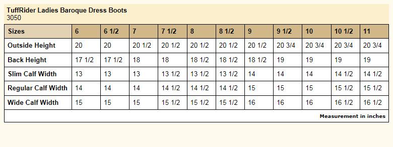 TuffRider Ladies Baroque Dress Boot size chart