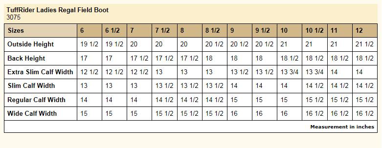 TuffRider Ladies Regal Field Boots size chart
