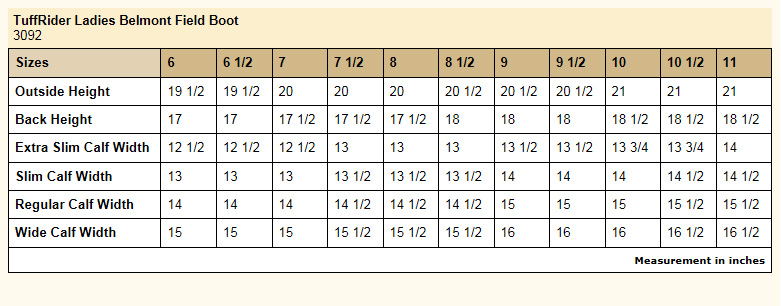 TuffRider Ladies Belmont Field Boots size chart