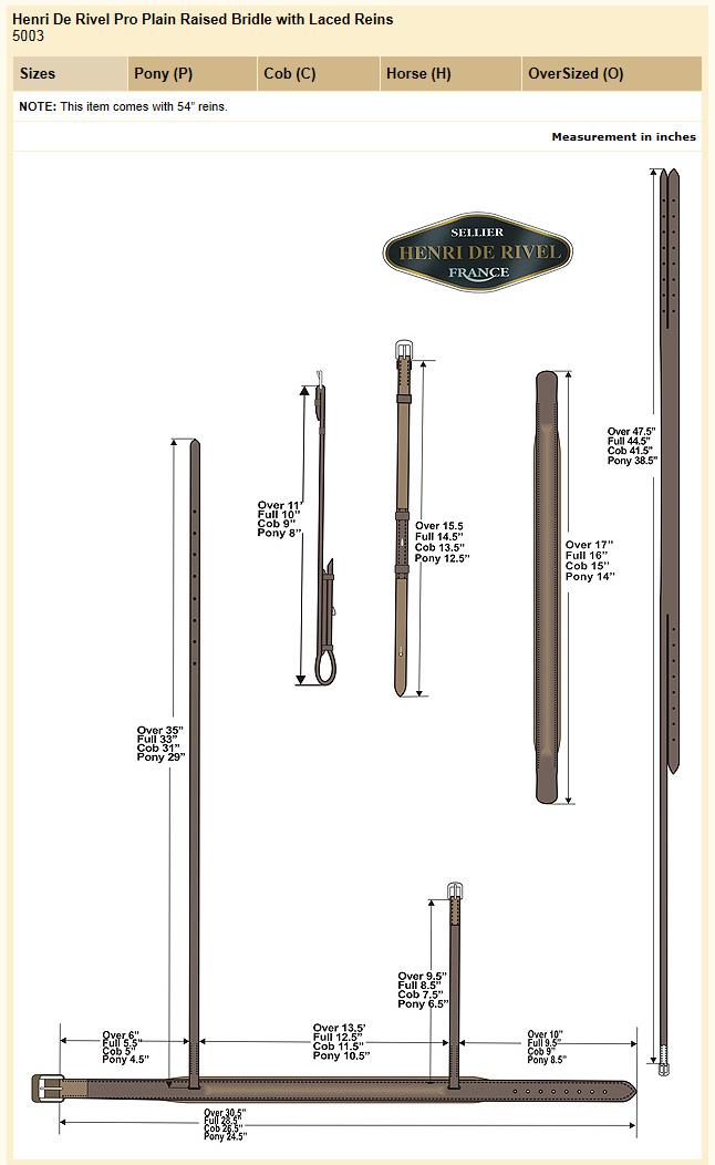 HDR Pro Plain Raised Bridle Size Chart