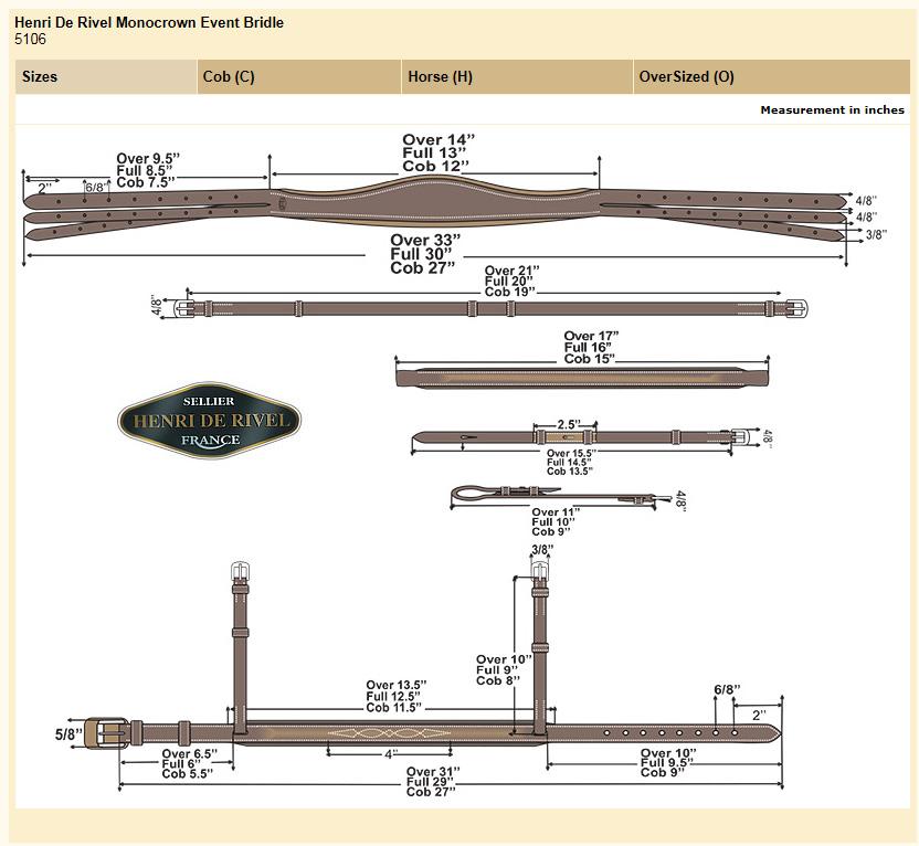 HDR Monocrown Event Bridle Size Chart