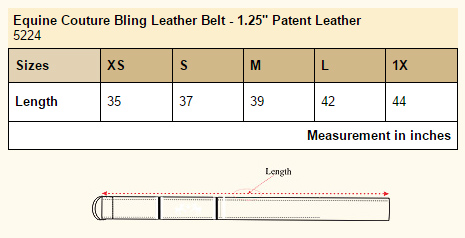 Equine Couture Bling Leather Belt size chart