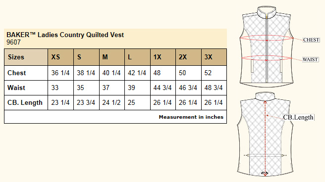 Baker Country Quilted Vest Size Chart