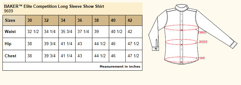 Baker Elite Competition Show Shirt Size Chart