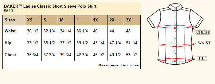Baker Classic Polo Shirt Size Chart
