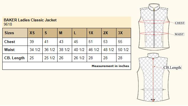 Baker Classic Jacket size chart
